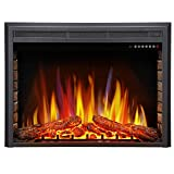 Antarctic star 36' Electric Fireplace Insert, Freestanding & Recessed Electric Stove Heater, LED Adjustable Flame with Burning Fireplace Logs Touch Screen, Remote Control, Timer, 750W-1500W.