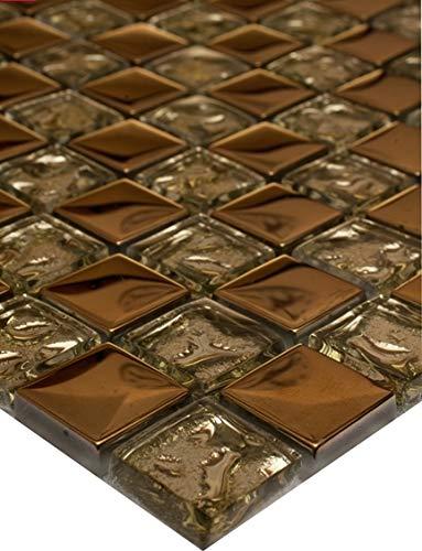 11Tappetini 1m² vetro mosaico Mosaici tessere di mosaico mosaico 8mm 30X 30vetro oro nuovo