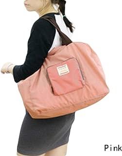BXT Waterproof Nylon Reusable Eco Compact Foldable Lightweight Travel Shopping Shopper Bag Shoulder Storage Backpack Pouch Tote Bag Handbag - Pink
