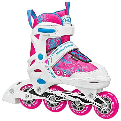 Roller Derby ION 7.2 Girl's Adjustable Inline Skates White/Pink Size Medium (2-5)