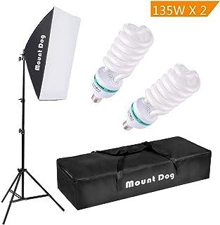 "MOUNTDOG 1350W Photography Continuous Softbox Lighting Kit 20""X28"" Professional Photo Studio Equipment with 2pcs 135W E27 Socket 5500K Video Lighting Bulb for Filming Portraits Shoot"