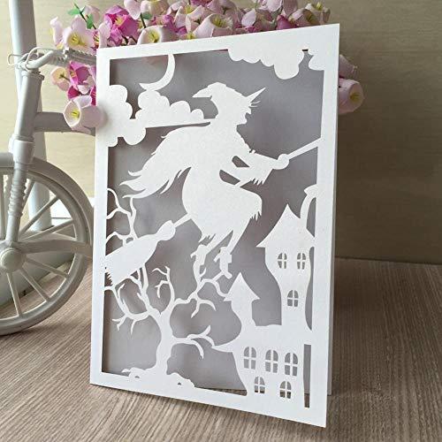 30 piezas de corte por láser de papel brillante decoración de fiesta de boda Tarjeta de invitación Decoración de tema de Halloween Tarjeta de felicitación, azul tiffany