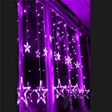 KK-mall Star 12 Stars 138 LED Curtain String Lights, Window Curtain Lights with 8 Flashing Modes Decoration for Christmas, Wedding, Party, Home, Patio Lawn, Warm White