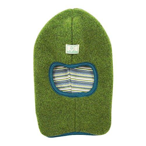 PICKAPOOH Kinder Schlupfmütze Bio-Wollfleece/Bio-Baumwolle, Grün/Petrol-Grau 52