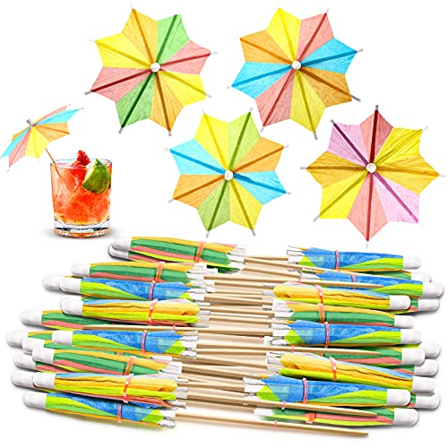 40 Pieces Cocktail Umbrellas for Drinks Colorful Tropical Tree Paper Umbrellas Drink Picks Bamboo Toothpicks Handmade for Hawaii Party Decoration (Chic Colors)