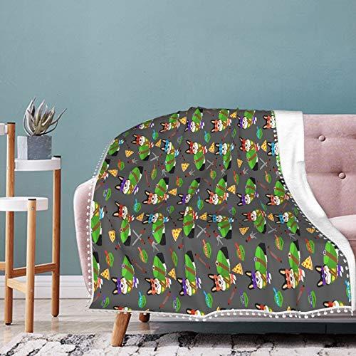 Manta para perros Tri Corgi Ninja Turtledog suave y transpirable, manta para guardería y cuna, manta para cochecito de bebé, perfecta manta doble universal de 50 x 40 pulgadas