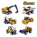 Tcvents 5 Pieces Construction Toys Trucks Set Mini Forklift Bulldozer Road Roller Excavator Dump Tractor Truck Kids City Building Toy Vehicles Cars for Toddlers Boys Age 3 4 5 6 7 8 9 Birthday Gifts