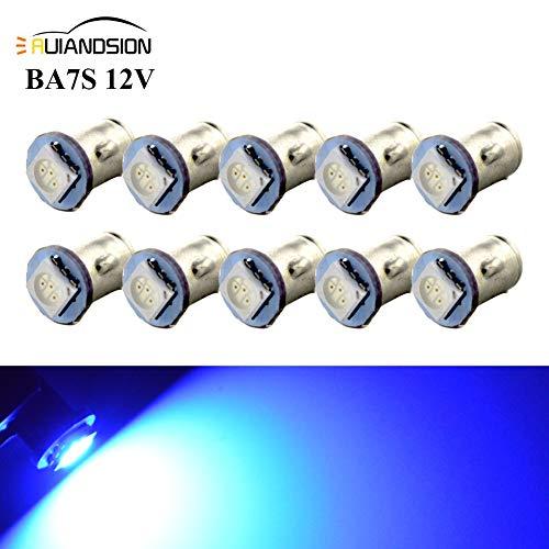 Ruiandsion 10x BA7S LED Éclairage intérieur pour auto 12V 5050 1SMD 30lm, bleu