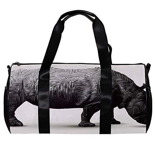 TIZORAX - Bolsa de deporte para mujer y hombre, diseño de rinoceronte de polígono afilado