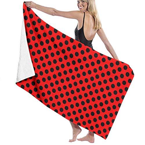 Toalla de playa grande Red Ladybug Black Spots, adecuada para hotel, piscina, gimnasio, playa, secado natural, suave y rápido L130cm x W80cm/51'Lx31' W