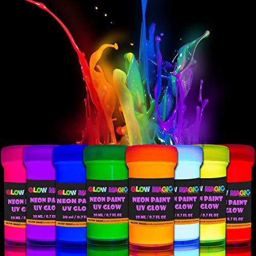 Glow Magic - Juego de 8 pinturas fluorescentes para pared (fluorescentes, con luz ultravioleta, 8 x 20 ml)