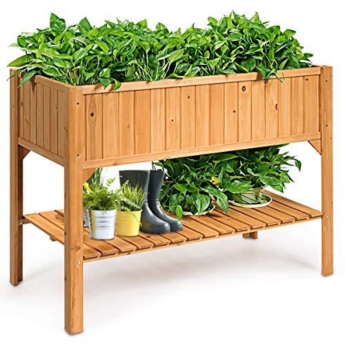 GOPLUS Hochbeet mit Ablage, Frühbeet aus Tannenholz, Kräuterbeet Natur, Pflanzbeet Gemüsebeet Pflanzkasten Tischbeet für Balkon
