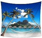 Tapiz Decoración Sala de estar Dormitorio Decoración interior Casa Coconut Palm Beach Vacaciones Isla Verano Maldivas Vacaciones Decoración del paisaje