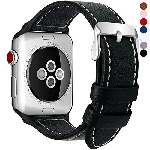 Fullmosa kompatibel Apple Watch Armband 38mm(40mm Serie 5/4) in 7 Farben, Grobe Litschi Textur Ersatz Lederarmband für iwatch Band Serie 5/4/3/2/1, Schwarz 38mm(40mm)