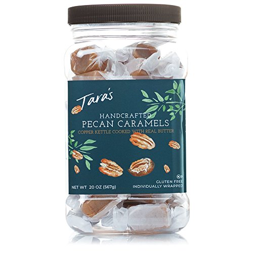 Taras All Natural Handcrafted Gourmet Pecan Flavored Caramel: Small Batch, Kettle Cooked, Creamy & Individually Wrapped - 20 Ounce