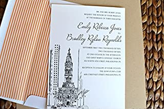 Philadelphia City Hall Skyline Wedding Invitations Package (Sold in sets of 10 Invitations, RSVP Cards and Envelopes)