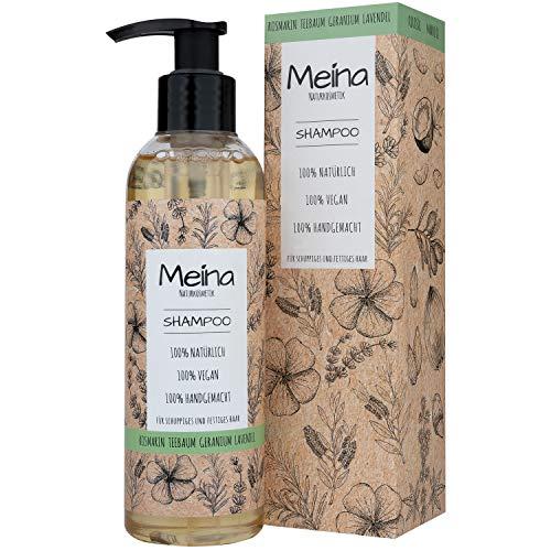 Meina Naturkosmetik - Bio Shampoo mit Rosmarin, Teebaum, Geranium und Lavendel - Vegan Haarshampoo ohne Mikroplastik, Silikone, Sulfate und Parabene