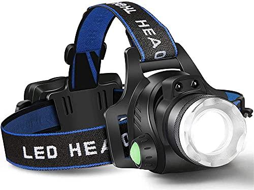 Taek-cheon Faro LED Recargable, 3 Patrones de iluminación Lámpara de Cabeza de Zoom Ajustable, Acampar, Senderismo, Caza, Pescar