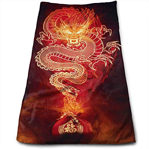 Chinese Fire Dragon Hand Towels Dishcloth Quick Dry Microfibre Towel Super Soft Extra Absorbent for Bath,Spa and Gym 12 X 27.5 Inch