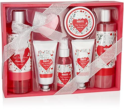 BRUBAKER Cosmetics Set de Baño y Ducha 8 Piezas Fresa Sweet Love en Cesta de Madera Deco - Set de Cuidado de Regalo con Diseño de Flores - Rosa