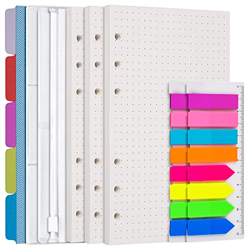 A6 Punktpapier Nachfüllpapier Set, 3er Pack 6 Ring Planer Binder nachfüllbar, 5 Stück Binderteiler, 3 Stück Binder Taschen, Personal Planner Beilagen für Journal Notebook