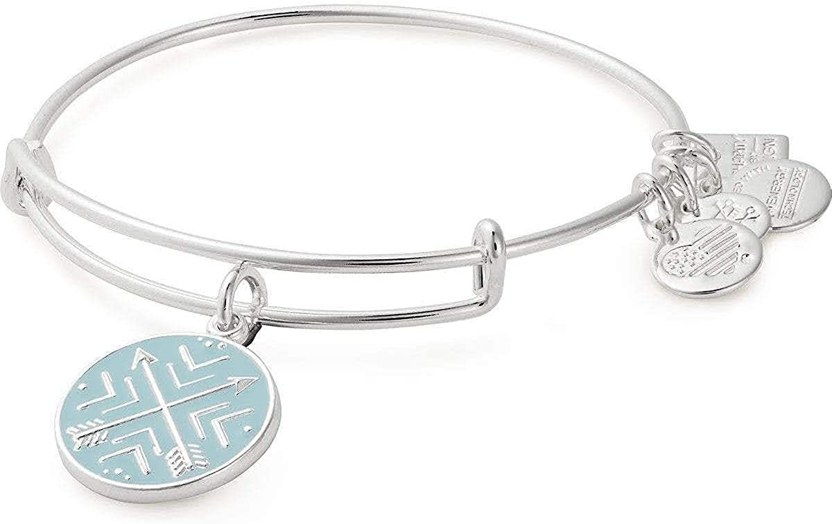 Alex and ANI Path of Symbols Expandable Bangle for Women, Arrows of Friendship Charm, Shiny Finish, 2 to 3.5 in