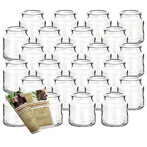gouveo 24er Set Teelichtgläser Rondo und 28-seitige Flaschendiscount-Rezeptbroschüre Windlichter,...