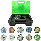 OBEST Peonzas Juguetes Conjunto, 10 PCS Gyro Spinner Tops Estuche Set con 2 Burst Turbo Lanzadors, con Caja Portátil, Regalo Mejor para los Niños (Verde)