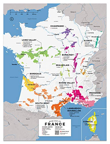 Wine Folly Posterdruck mit Frankreich-Weinkarte, 30,5 x 40,6 cm