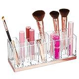 mDesign Práctico organizador de maquillaje – Decorativa caja para guardar cosméticos como esmaltes de uñas o labiales – Expositor de maquillaje con 24 compartimentos – transparente/dorado rojizo