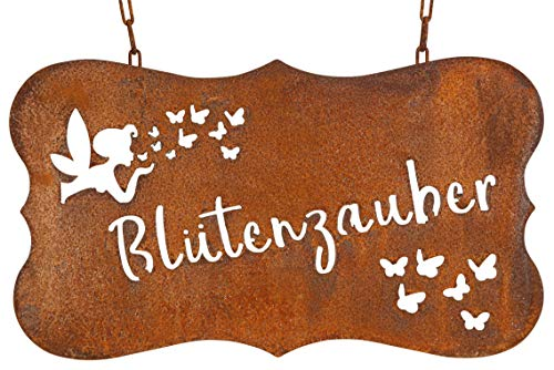 Bornhöft Schild Spruchtafel rostiges Gartenschild Edelrost Rost zum Hängen (Blütenzauber)