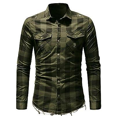 baskuwish Men's Pocket Plaid Shirt T-Shirt,Men's Short Sleeve Plaid Shirt with Pocket Business Slim Fit Blouse Top