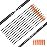 Hunter Ian Archery Carbon Arrow Hunting Arrows 28 Inch with 100 Grian Removable Tips for Compound Bow & Recurve Bow Practice Shooting (Pack of 12)