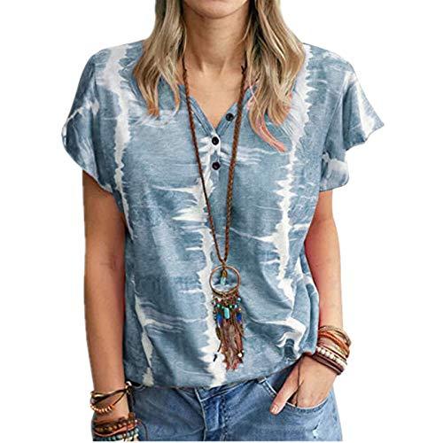 URIBAKY - Camiseta de manga corta para mujer, con botones y cuello en V, diseño de rayas azul marino M