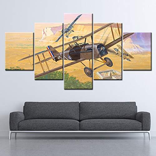 GUDOJK Canvas Schilderij WWI Koninklijke Vliegtuigen 5 Stuks Muurschildering Modulaire Wallpapers Poster Print Home Decor 30x40 30x60 30x80