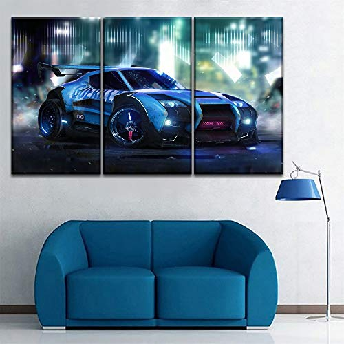 Set or Piece of Rocket League Cool Game car Picture Living Room Home Wall Decoration Modern Artwork Frameless 50 * 70 * 3