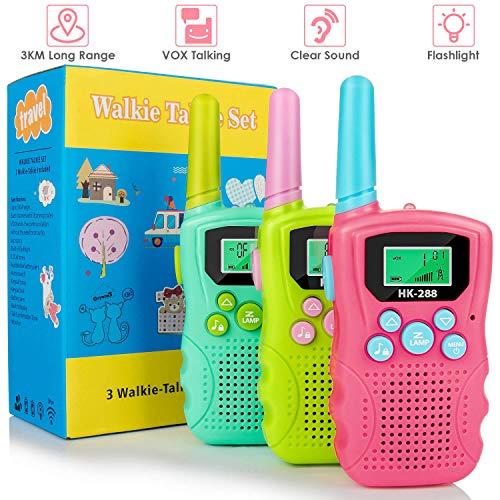 Walkie Talkies for Kids 3 Pack, 22 Channels 2 Way Radio 3km Long Range VOX Talking with Flashlight, Kids Walkie-talkies Handheld Interphone for Age 3-12 Year Old Boys Girls Outdoor Camping Hiking