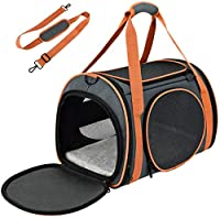 """AIRLINE APPROVED PET CARRIER: With airline-approved design (to most airlines), our cat carrier measures 17.5""""*11""""*11"""" inches. Recommended for pets up to 20lbs (Please measure the size and weight of your pet before purchase). The size is perfect for s..."""