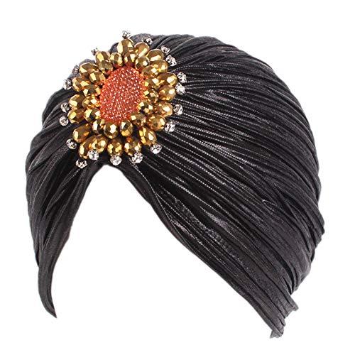 iKulilky Gorro turbante para mujer, gorro de cristal, gorro, pañuelo musulmán, gorro de chemo, gorro de punto, gorro para mujer, accesorio para disfraz, color negro