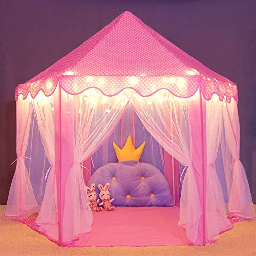 STAR WORK Princess Tent Girls Toys Kids Castle Play Tent Castle Play House Tent for Children Indoor and Outdoor Games [Lights NOT Include]