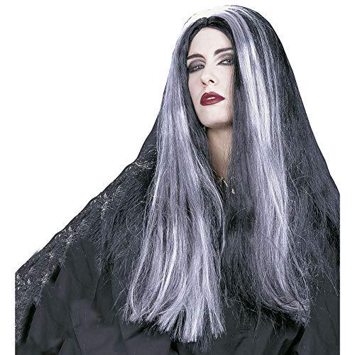 Peluca de bruja, color negro y gris, talla única,