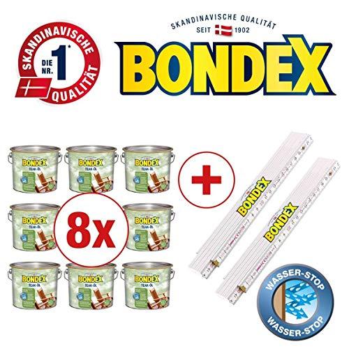 Bondex BigPack XXL 8x Teak Öl Teak 2,50l 330059 + 2 x Bondex Zollstock