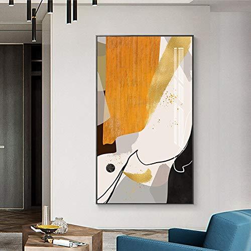 Handaxian Abstrakte Schwarze und gelbe Linie Malerei Leinwand nordisch brauner Künstler Wohnkultur Modedruck Poster Wohnzimmer 40x70cm Rahmenlos
