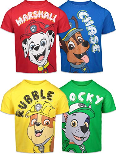 Paw Patrol Chase Marshall Rubble Rocky Toddler Boys 4 Pack T-Shirt Chase Marshall Rubble & Rocky 3T