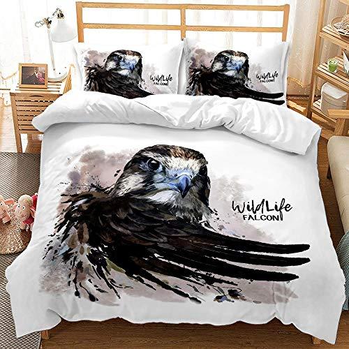 Fansu Bedding Set 2/3 Piece, Eagle Printed Duvet Set Quilt Case Pillow Case - Boys Girls Bedroom Microfiber Duvet Cover Set for Double King Single Bed (Wild eagle,220x240cm)