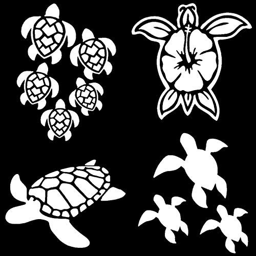 Sea Turtle Decal 4 Pack: Sea Turtle Family, Hibiscus Turtle Shell, Sea Turtles Silhouette (White, Small ~3.5