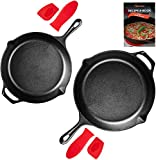 Uno Casa Cast Iron Skillet Set - 2-Piece Set 10 Inch and 12 Inch - Pre-Seasoned Cast Iron Frying Pan - Oven Safe