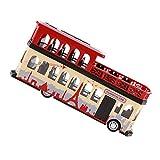 Baoblaze 1x Modelo Bus Turístico Dos Pisos Juguetes Adorno Model de Escala 1/28 - Rojo