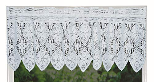 Creative Linens Knitted Crochet Lace Kitchen Curtain Valance White, 100% Cotton
