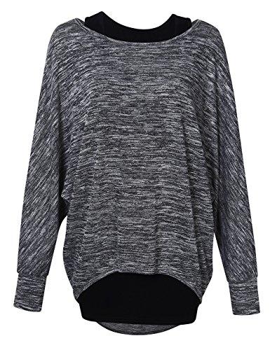 KOJOOIN Damen Lose Bluse Asymmetrisch Sweatshirt Langarm Pullover Oversized Tops Dunkelgrau M